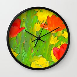 Etched Tulips 5 Wall Clock