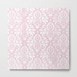 Vintage blush pink white grunge floral damask Metal Print