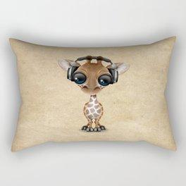 Cute Baby Giraffe Dj Wearing Headphones Rectangular Pillow