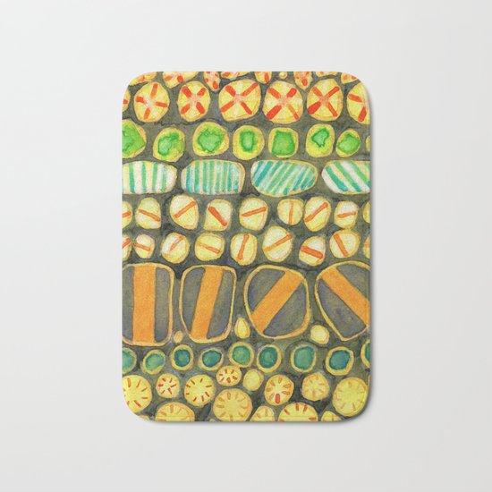 Vintage Decorated Round Shapes Pattern Bath Mat