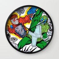 starlord Wall Clocks featuring Starlord Vs. Evil by Hugo Maldonado