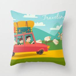 Car trip to camp, tourism concept vector illustration Throw Pillow