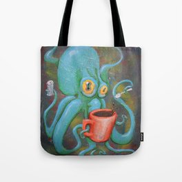 Michelle's Coffee Drinking Octopus Tote Bag