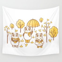 Pandas and ginkgo Wall Tapestry
