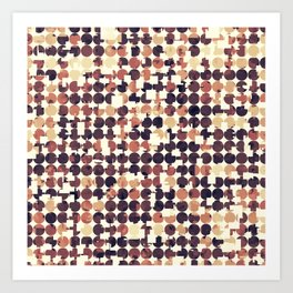 geometric square and circle pattern abstract in brown Art Print