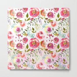 blush pink peonies watercolor fuchsia flowers Metal Print