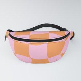 Warped Checker Pink Orange  Fanny Pack