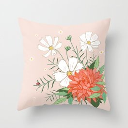 Cosmos and Dahlia on Pink Throw Pillow