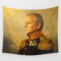 yellow pattern Wall Tapestries featuring Bill Murray - replaceface by replaceface
