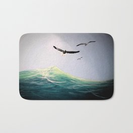 Seaguls Soaring with the Ocean Waves Bath Mat