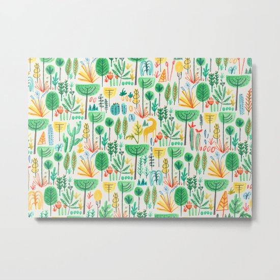 Jungle life with golden unicorn Metal Print
