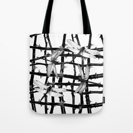 BLACK & WHITE DRAGONFLIES ON WHITE COLOR Tote Bag