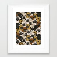 pugs Framed Art Prints featuring Social Pugz by Huebucket
