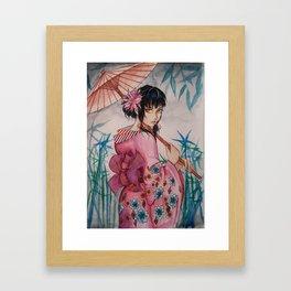 Girl in pink kimono Framed Art Print