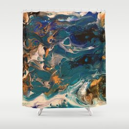 Teal & Gold Pour Shower Curtain