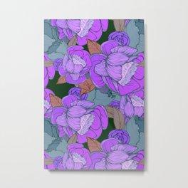 Camellias in Blue Metal Print