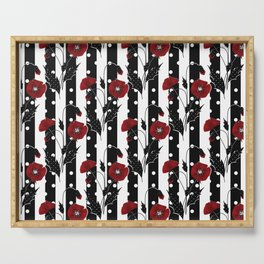 Retro. Red poppies on a black and white striped background. Serving Tray