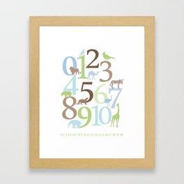 Animal Numbers - Brody colorway Framed Art Print