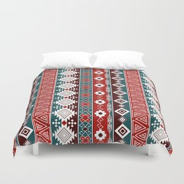 Colorful Aztec pattern with red. Duvet Cover