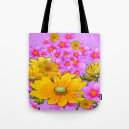 PINK COLOR PINK-YELLOW FLORALS ART Tote Bag