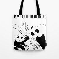 pandas Tote Bags featuring Pandas by Raaz Herzberg