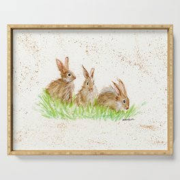 Hoppy Trio Bunnies - animal watercolor painting of rabbits Serving Tray