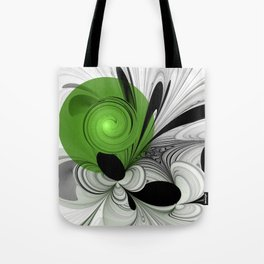 Abstract Black and White with Green Tote Bag