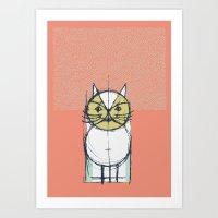 Cubist Cat Study #12 by Friztin Art Print
