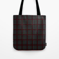 Dotted Grid Weave Black Red Tote Bag