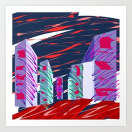 City Sketches and Red Skies Art Print