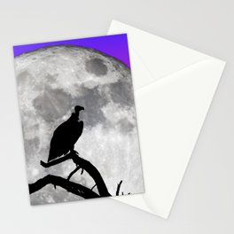 Vulture Silhouetted Against Supermoon Stationery Cards