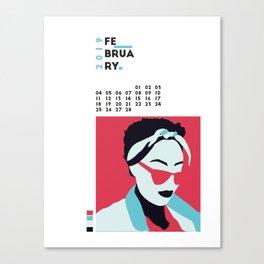 Calendar 2019 February Canvas Print
