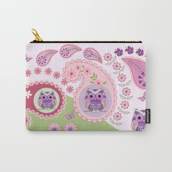 Retro paisley shapes with cute owls and flowers Carry-All Pouch
