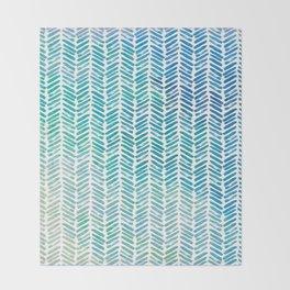 Handpainted Herringbone Chevron pattern-small-aqua watercolor on white Throw Blanket