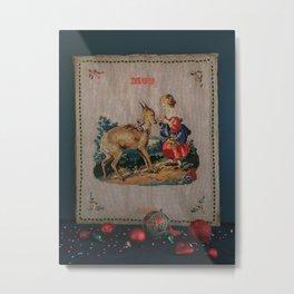 Sweet Antique Sampler about Love, Girl Feedig a Roe Deer. Made in 1892 Metal Print