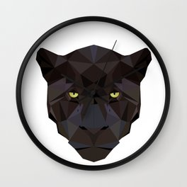 Black Jaguar Panther Wild animals Geometric Wall Clock
