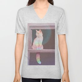 Psychedelic Cat Unisex V-Neck