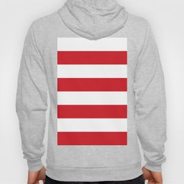 Wide Horizontal Stripes - White and Fire Engine Red Hoody