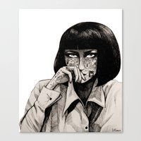 mia wallace Canvas Prints featuring Mia Wallace by Justine Lecouffe