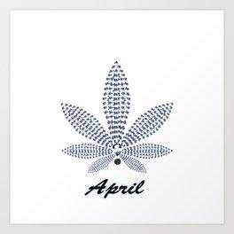 Birthstoned Leaf of Month, April Diamond Art Print