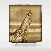 giraffes Shower Curtains featuring Giraffes by haroulita