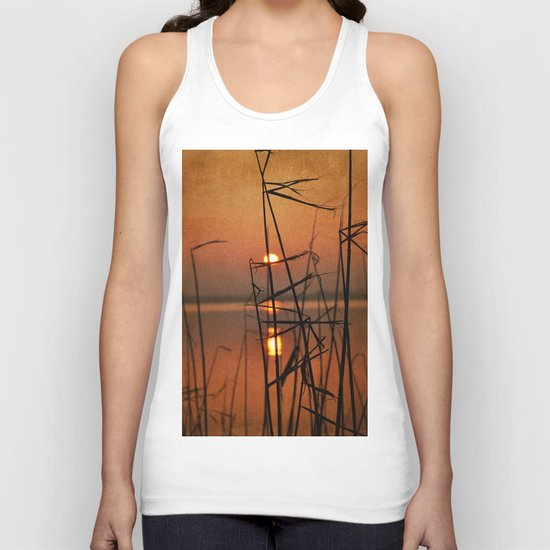 vintage sunset landscape Unisex Tank Top