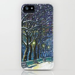 Snowy night park iPhone Case