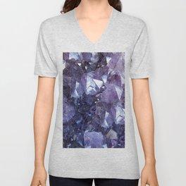 Amethyst Crystal Cluster Unisex V-Neck