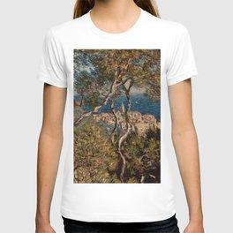 Claude Monet: Bordighera. View of a city on the Italian Riviera through Trees, near France T-shirt