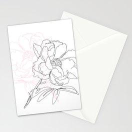 Minimal line peonia Stationery Cards