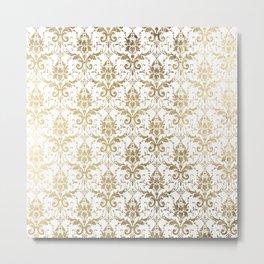 Elegant vintage white faux gold floral boutique damask Metal Print