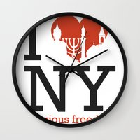 religious Wall Clocks featuring Luv New York Religious Freedom by The Mindful