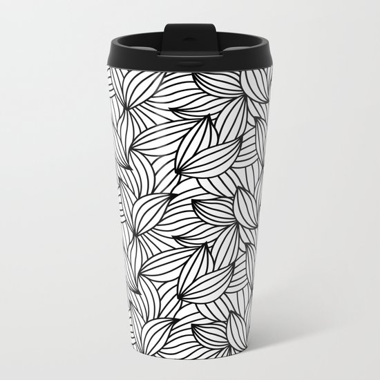 Abstract Lines Pattern Design 2 - Leaf Metal Travel Mug