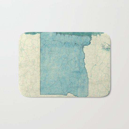 Oregon State Map Blue Vintage Bath Mat